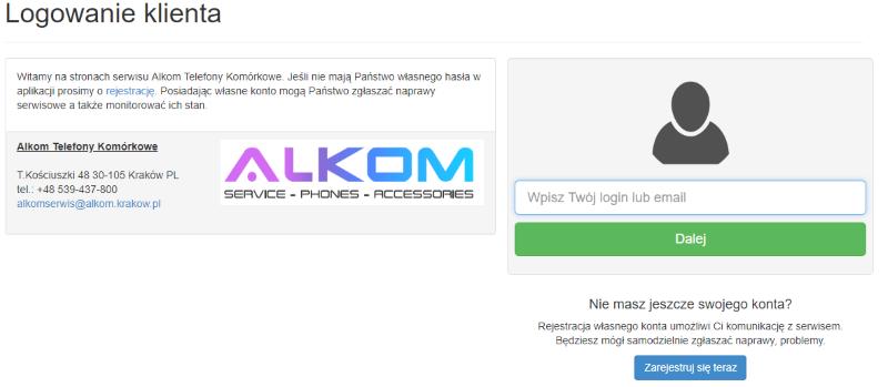 alkom logowanie do panelu klienta serwis gsm